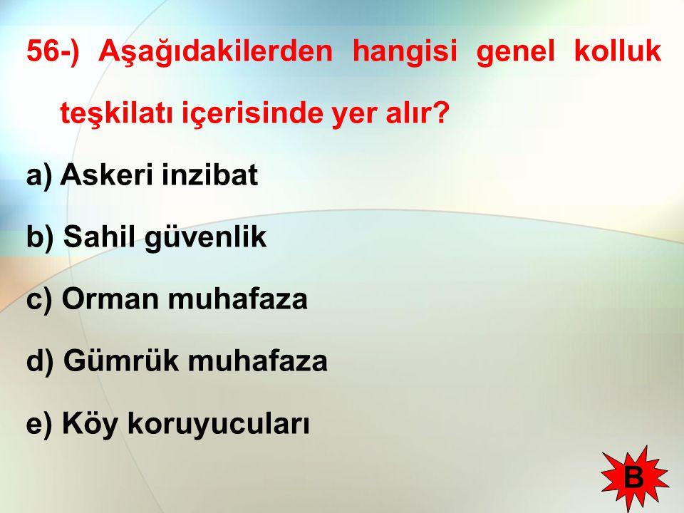 56-) Aşağıdakilerden hangisi genel kolluk teşkilatı içerisinde yer alır.