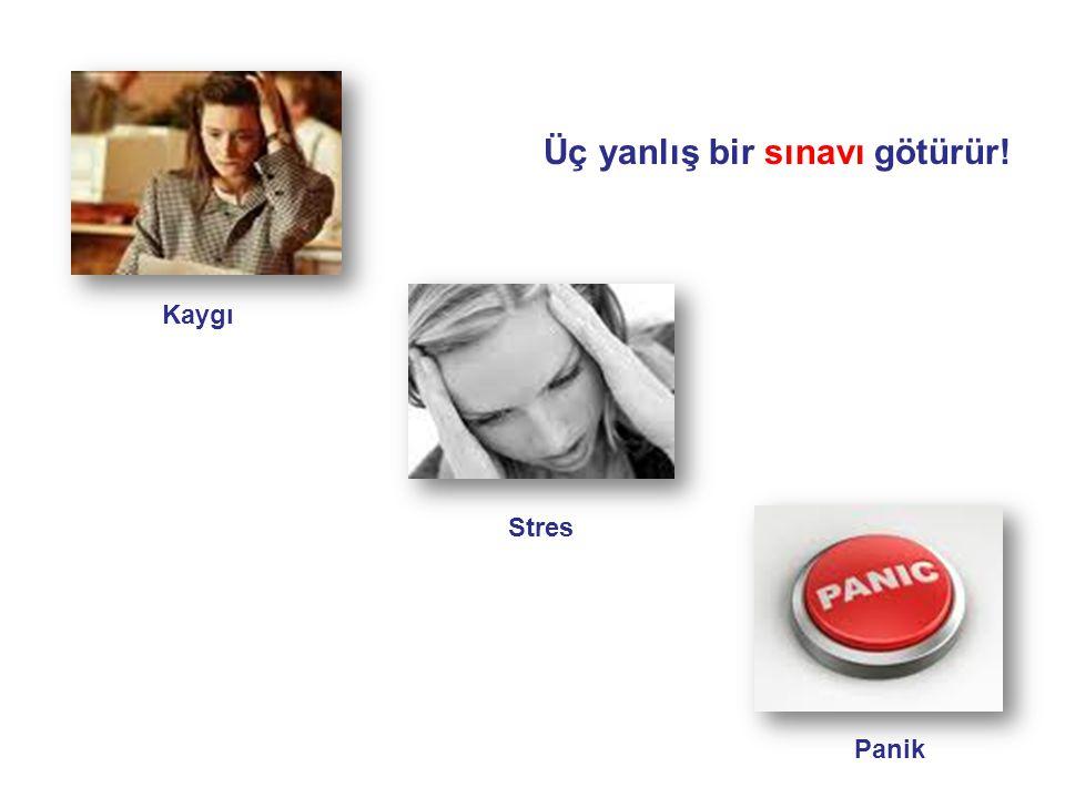 Kaygı Stres Panik Üç yanlış bir sınavı götürür!