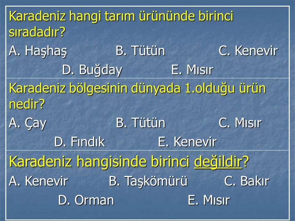 Karadeniz hangi tarım ürününde birinci sıradadır.A.