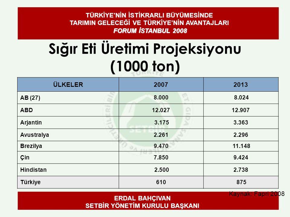 Sığır Eti Üretimi Projeksiyonu (1000 ton) Kaynak: Fapri 2008 ÜLKELER20072013 AB (27) 8.000 8.024 ABD12.02712.907 Arjantin 3.1753.363 Avustralya2.2612.296 Brezilya9.470 11.148 Çin7.8509.424 Hindistan 2.5002.738 Türkiye610 875 ERDAL BAHÇIVAN SETBİR YÖNETİM KURULU BAŞKANI FORUM İSTANBUL 2008 TÜRKİYE'NİN İSTİKRARLI BÜYÜMESİNDE TARIMIN GELECEĞİ VE TÜRKİYE'NİN AVANTAJLARI FORUM İSTANBUL 2008