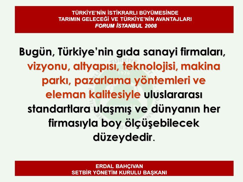 Bugün, Türkiye'nin gıda sanayi firmaları, vizyonu, altyapısı, teknolojisi, makina parkı, pazarlama yöntemleri ve eleman kalitesiyle uluslararası standartlara ulaşmış ve dünyanın her firmasıyla boy ölçüşebilecek düzeydedir.