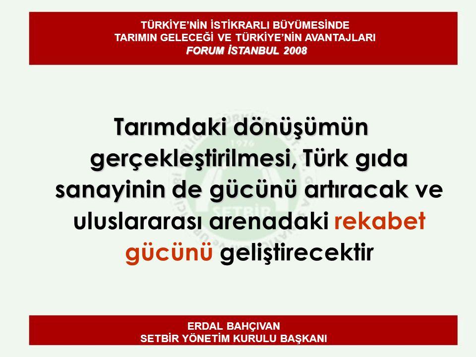 Tarımdaki dönüşümün gerçekleştirilmesi, Türk gıda sanayinin de gücünü artıracak Tarımdaki dönüşümün gerçekleştirilmesi, Türk gıda sanayinin de gücünü artıracak ve uluslararası arenadaki rekabet gücünü geliştirecektir ERDAL BAHÇIVAN SETBİR YÖNETİM KURULU BAŞKANI FORUM İSTANBUL 2008 TÜRKİYE'NİN İSTİKRARLI BÜYÜMESİNDE TARIMIN GELECEĞİ VE TÜRKİYE'NİN AVANTAJLARI FORUM İSTANBUL 2008