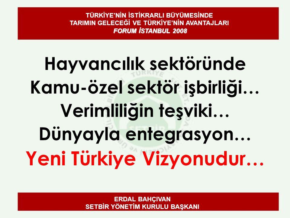 Hayvancılık sektöründe Kamu-özel sektör işbirliği… Verimliliğin teşviki… Dünyayla entegrasyon… Yeni Türkiye Vizyonudur… ERDAL BAHÇIVAN SETBİR YÖNETİM KURULU BAŞKANI FORUM İSTANBUL 2008 TÜRKİYE'NİN İSTİKRARLI BÜYÜMESİNDE TARIMIN GELECEĞİ VE TÜRKİYE'NİN AVANTAJLARI FORUM İSTANBUL 2008