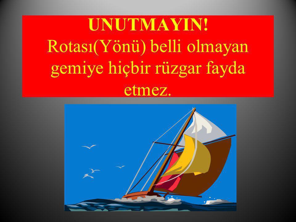 UNUTMAYIN! Rotası(Yönü) belli olmayan gemiye hiçbir rüzgar fayda etmez.