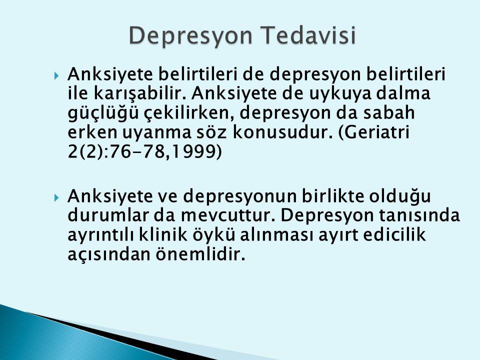  Anksiyete belirtileri de depresyon belirtileri ile karışabilir. Anksiyete de uykuya dalma güçlüğü çekilirken, depresyon da sabah erken uyanma söz ko