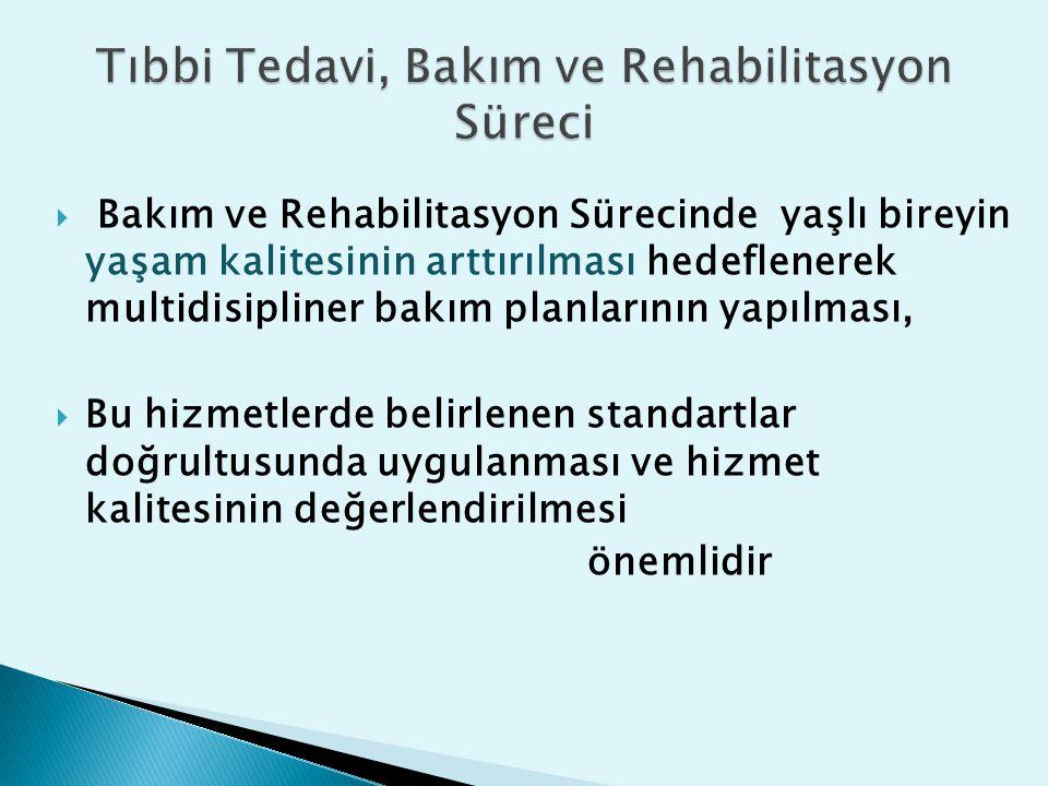  Bakım ve Rehabilitasyon Sürecinde yaşlı bireyin yaşam kalitesinin arttırılması hedeflenerek multidisipliner bakım planlarının yapılması,  Bu hizmet