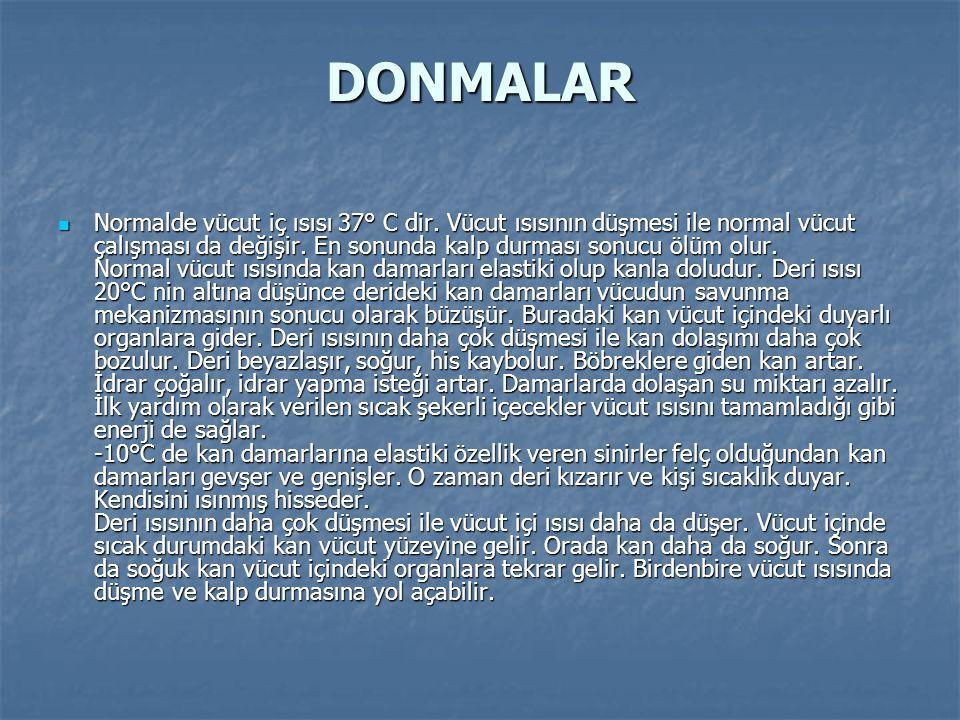 DONMALAR Normalde vücut iç ısısı 37° C dir.