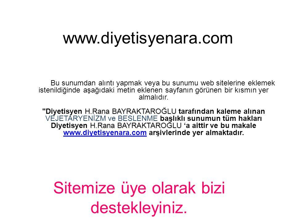 VEJETARYENİZM ve BESLENME Dyt. H.Rana BAYRAKTAROĞLU