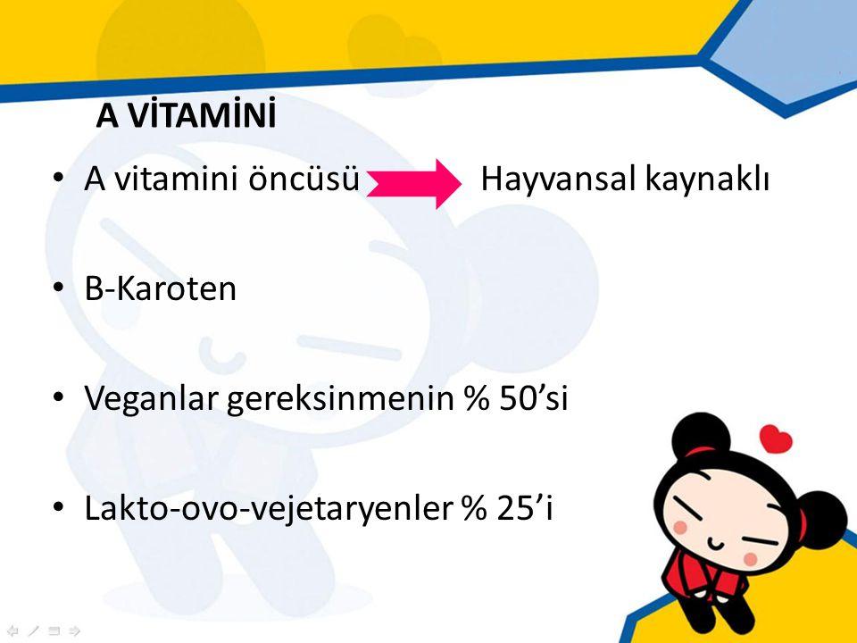 A vitamini öncüsü Hayvansal kaynaklı Β-Karoten Veganlar gereksinmenin % 50'si Lakto-ovo-vejetaryenler % 25'i A VİTAMİNİ