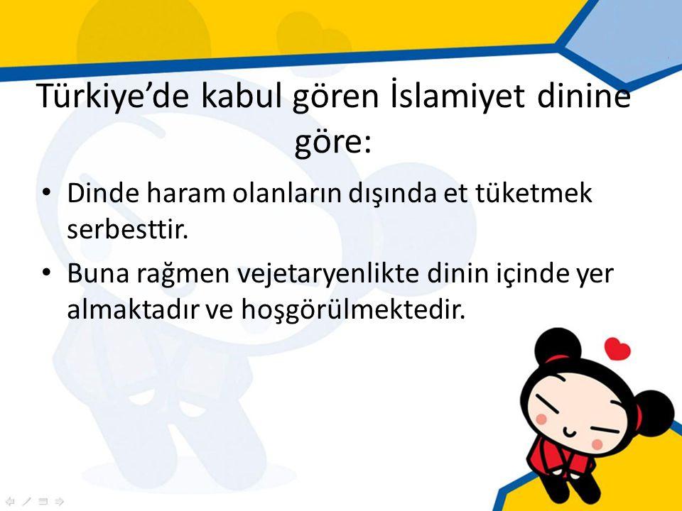 Türkiye'de kabul gören İslamiyet dinine göre: Dinde haram olanların dışında et tüketmek serbesttir.