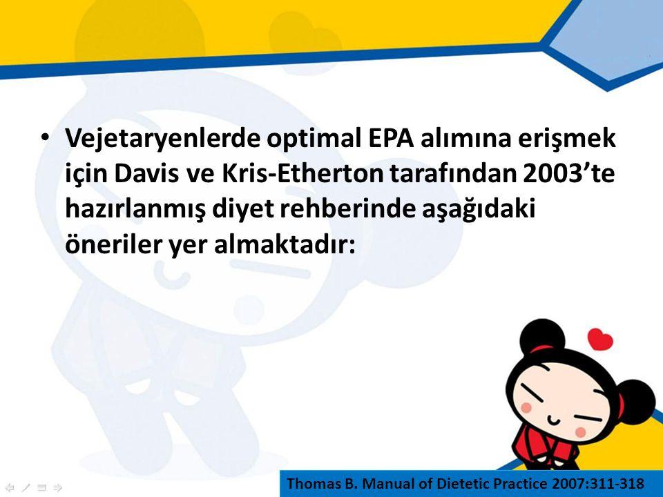 Vejetaryenlerde optimal EPA alımına erişmek için Davis ve Kris-Etherton tarafından 2003'te hazırlanmış diyet rehberinde aşağıdaki öneriler yer almaktadır: Thomas B.