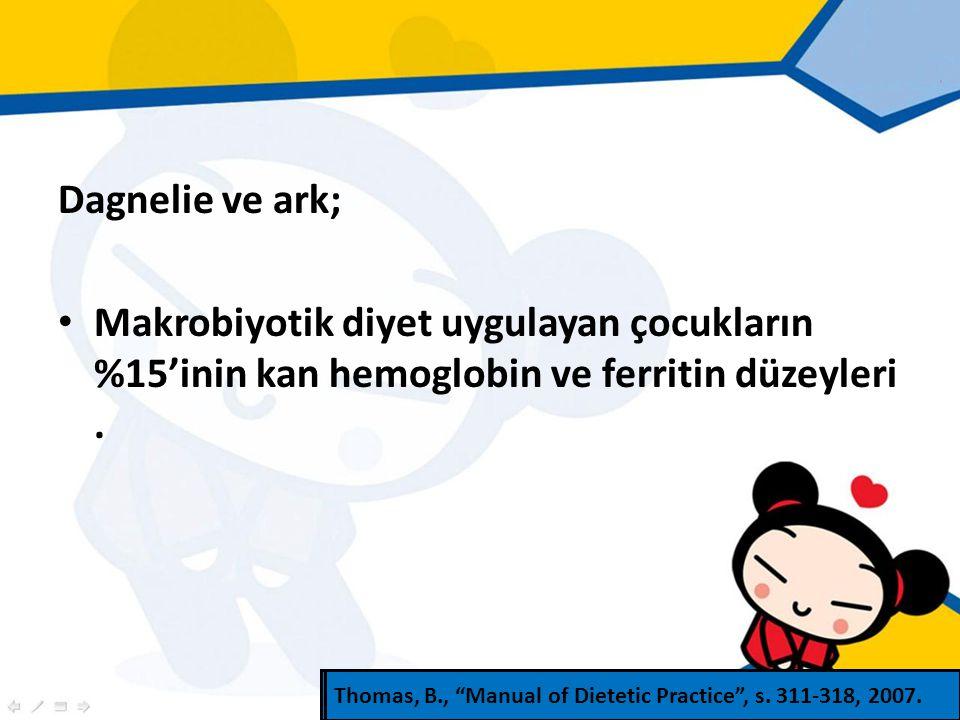 Dagnelie ve ark; Makrobiyotik diyet uygulayan çocukların %15'inin kan hemoglobin ve ferritin düzeyleri.