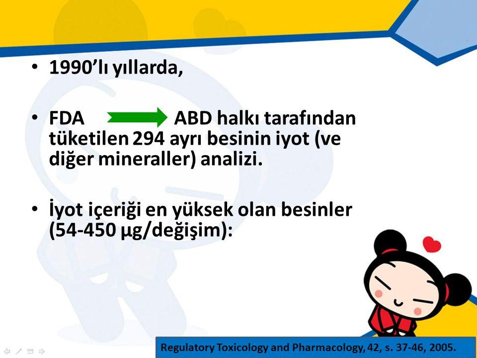 1990'lı yıllarda, FDAABD halkı tarafından tüketilen 294 ayrı besinin iyot (ve diğer mineraller) analizi.