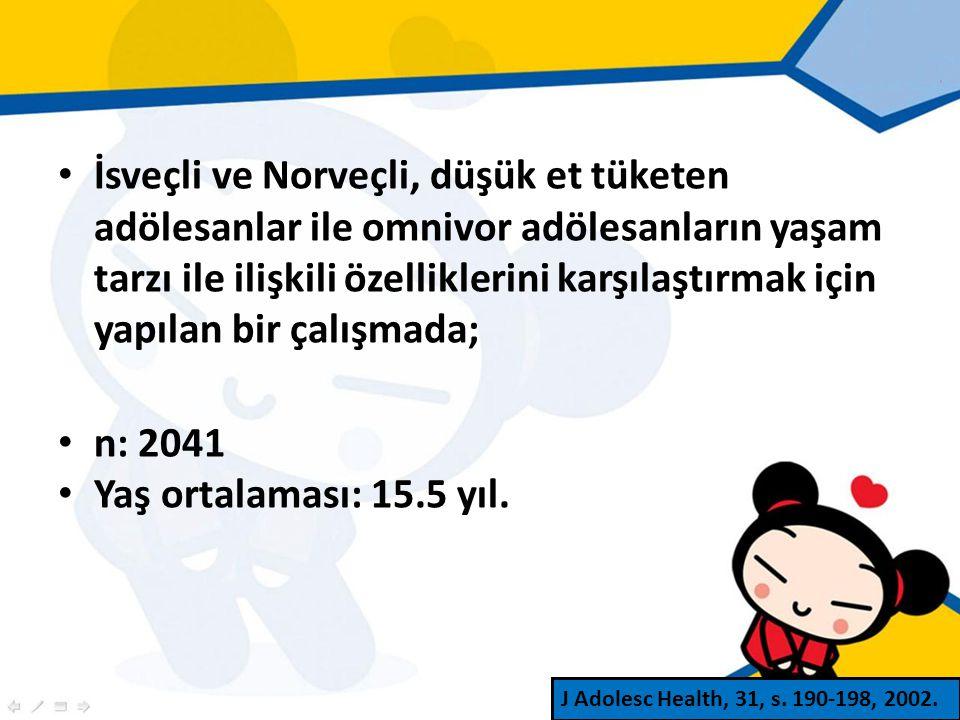 İsveçli ve Norveçli, düşük et tüketen adölesanlar ile omnivor adölesanların yaşam tarzı ile ilişkili özelliklerini karşılaştırmak için yapılan bir çalışmada; n: 2041 Yaş ortalaması: 15.5 yıl.