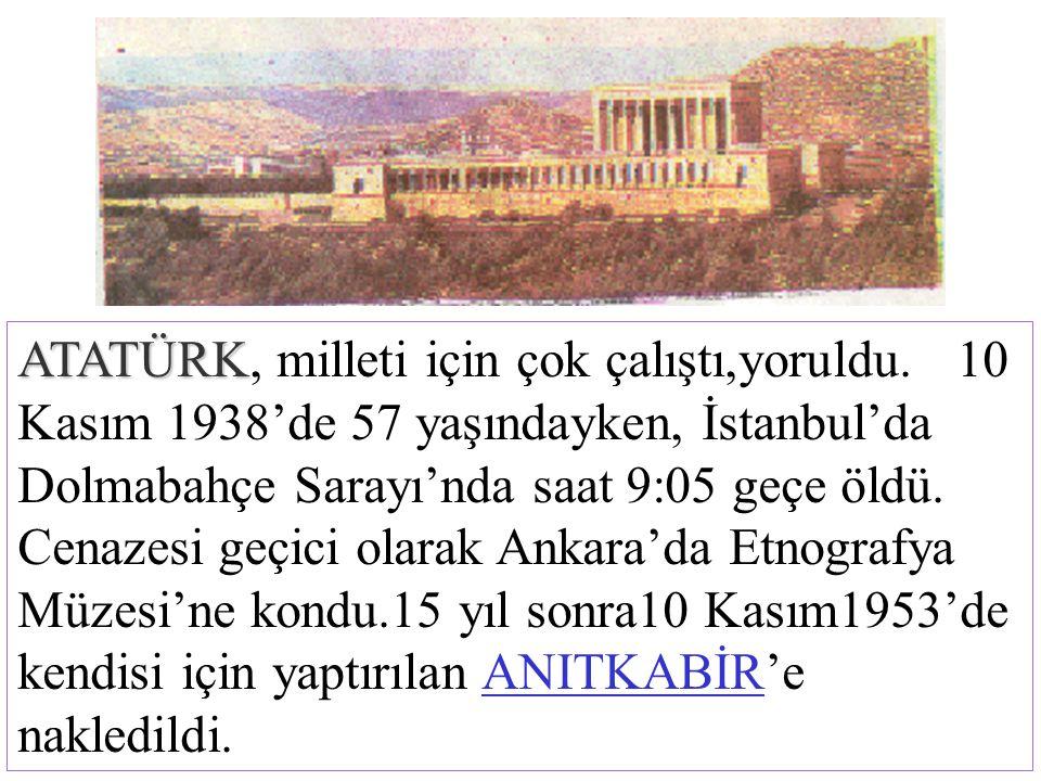 Atatürk Türk Milleti ile birlikte Kurtuluş Savaşını yaptı. Düşmanları yurdumuzdan kovdu. Türkiye Cumhuriyet'ini kurdu. ATATÜRK ATATÜRK,milleti için ço