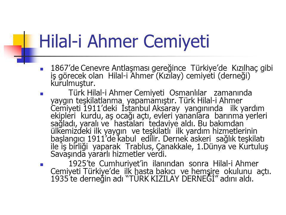 Hilal-i Ahmer Cemiyeti 1867'de Cenevre Antlaşması gereğince Türkiye'de Kızılhaç gibi iş görecek olan Hilal-i Ahmer (Kızılay) cemiyeti (derneği) kurulm