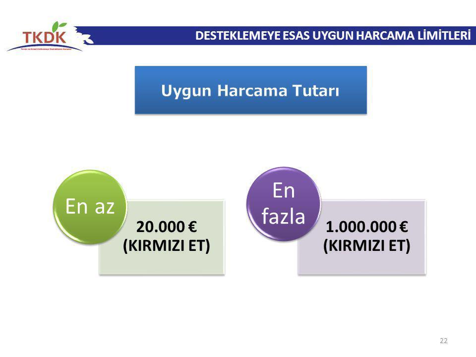 DESTEKLEMEYE ESAS UYGUN HARCAMA LİMİTLERİ 22 20.000 € (KIRMIZI ET) En az 1.000.000 € (KIRMIZI ET) En fazla