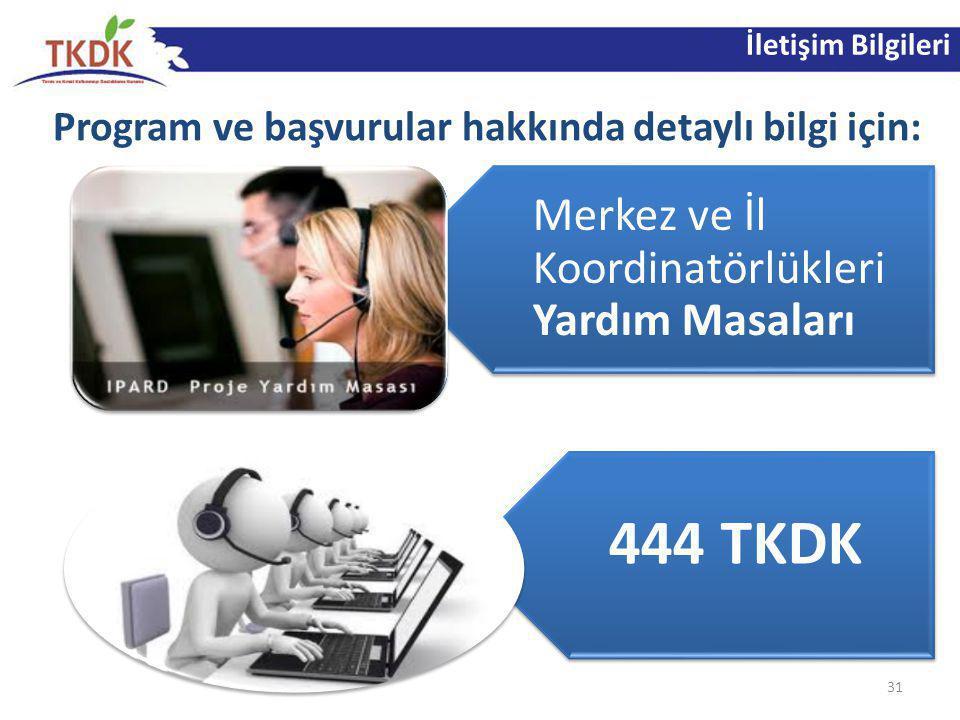 İletişim Bilgileri Program ve başvurular hakkında detaylı bilgi için: 31 Merkez ve İl Koordinatörlükleri Yardım Masaları 444 TKDK