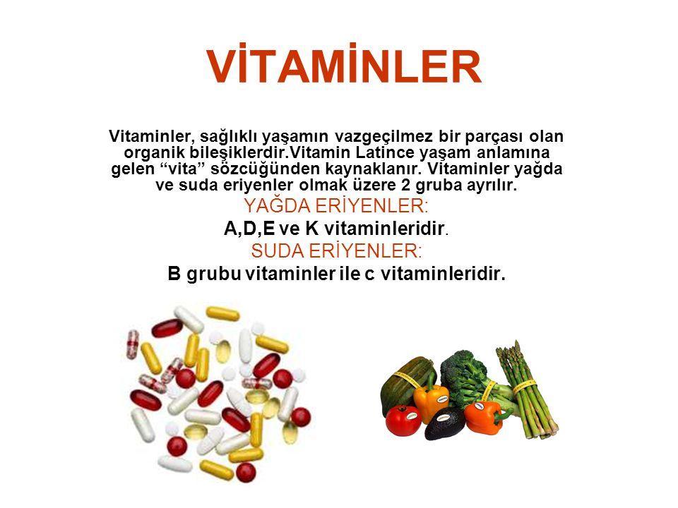 """VİTAMİNLER Vitaminler, sağlıklı yaşamın vazgeçilmez bir parçası olan organik bileşiklerdir.Vitamin Latince yaşam anlamına gelen """"vita"""" sözcüğünden kay"""