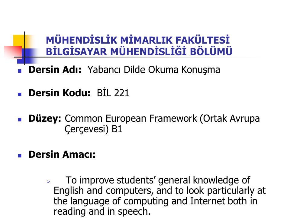 MÜHENDİSLİK MİMARLIK FAKÜLTESİ BİLGİSAYAR MÜHENDİSLİĞİ BÖLÜMÜ Dersin Adı: Yabancı Dilde Okuma Konuşma Dersin Kodu: BİL 221 Düzey: Common European Fram