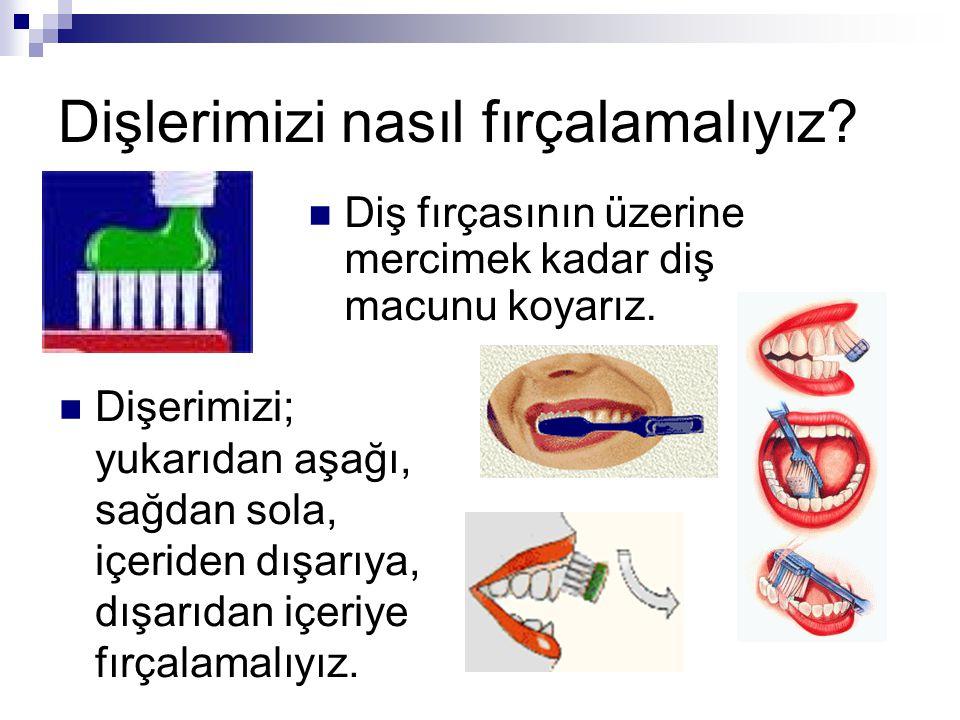 Dişlerimizi nasıl fırçalamalıyız? Diş fırçasının üzerine mercimek kadar diş macunu koyarız. Dişerimizi; yukarıdan aşağı, sağdan sola, içeriden dışarıy