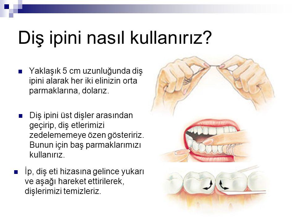 Diş ipini nasıl kullanırız? Yaklaşık 5 cm uzunluğunda diş ipini alarak her iki elinizin orta parmaklarına, dolarız. Diş ipini üst dişler arasından geç