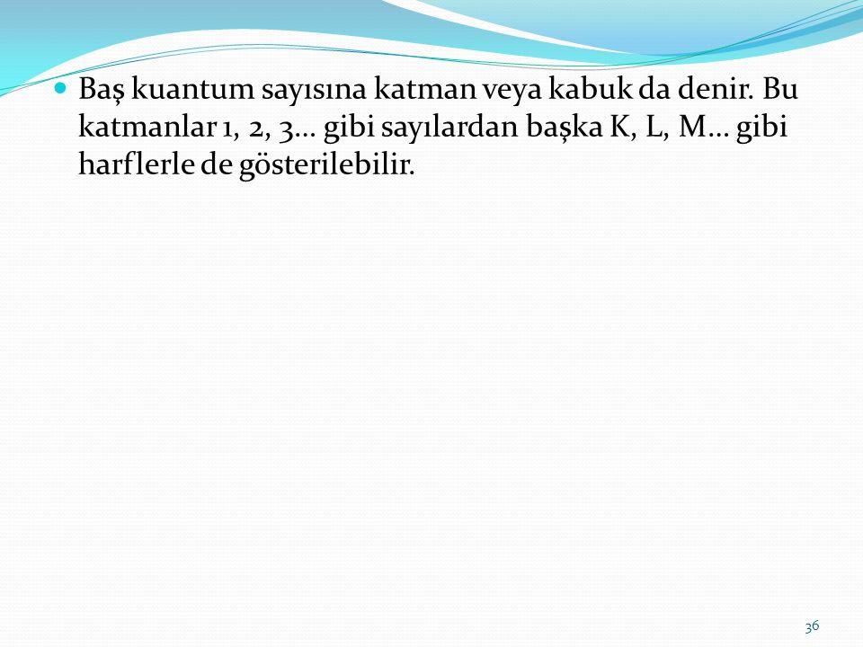 Baş kuantum sayısına katman veya kabuk da denir. Bu katmanlar 1, 2, 3… gibi sayılardan başka K, L, M… gibi harflerle de gösterilebilir. 36