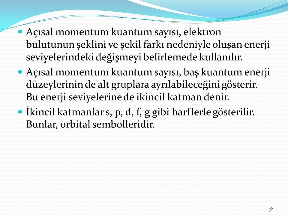 Açısal momentum kuantum sayısı, elektron bulutunun şeklini ve şekil farkı nedeniyle oluşan enerji seviyelerindeki değişmeyi belirlemede kullanılır. Aç