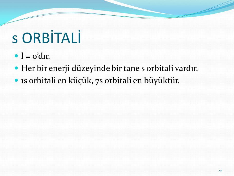s ORBİTALİ l = 0'dır. Her bir enerji düzeyinde bir tane s orbitali vardır. 1s orbitali en küçük, 7s orbitali en büyüktür. 41