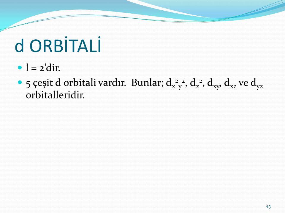 d ORBİTALİ l = 2'dir. 5 çeşit d orbitali vardır. Bunlar; d x 2 y 2, d z 2, d xy, d xz ve d yz orbitalleridir. 43