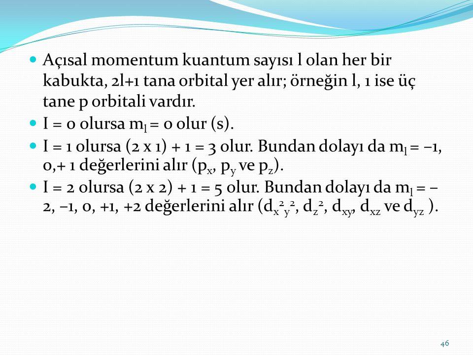 Açısal momentum kuantum sayısı l olan her bir kabukta, 2l+1 tana orbital yer alır; örneğin l, 1 ise üç tane p orbitali vardır. I = 0 olursa m l = 0 ol