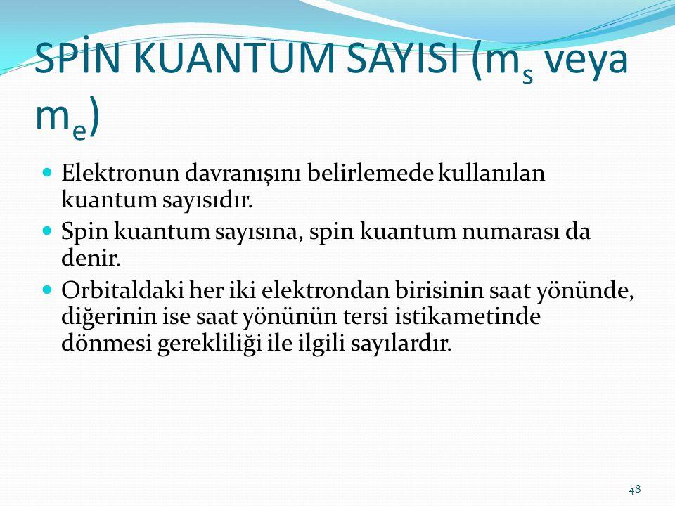 SPİN KUANTUM SAYISI (m s veya m e ) Elektronun davranışını belirlemede kullanılan kuantum sayısıdır. Spin kuantum sayısına, spin kuantum numarası da d