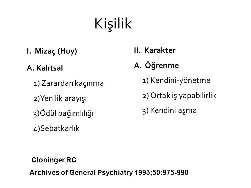 Kişilik bozuklukları Mizaç A.Kalıtsal - Algı/Bilgi işleme - Duygu/dürtü düzenleme B.