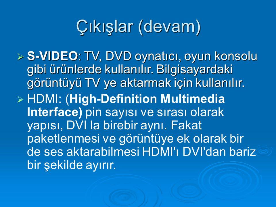 Çıkışlar (devam)  S-VIDEO: TV, DVD oynatıcı, oyun konsolu gibi ürünlerde kullanılır.