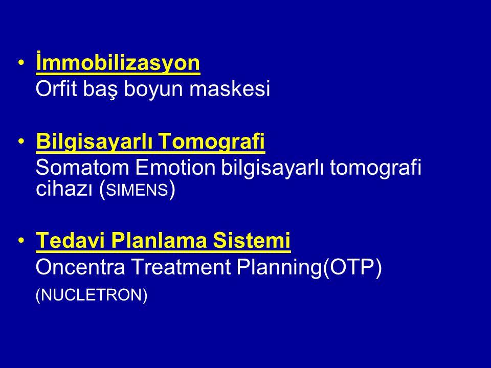 İmmobilizasyon Orfit baş boyun maskesi Bilgisayarlı Tomografi Somatom Emotion bilgisayarlı tomografi cihazı ( SIMENS ) Tedavi Planlama Sistemi Oncentr