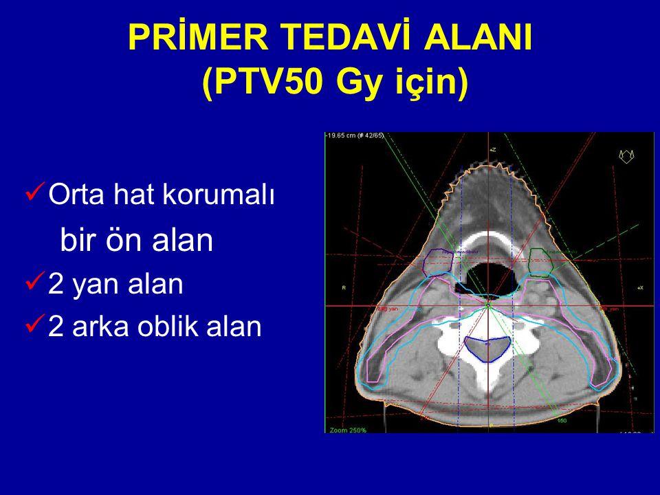PRİMER TEDAVİ ALANI (PTV50 Gy için) Orta hat korumalı bir ön alan 2 yan alan 2 arka oblik alan