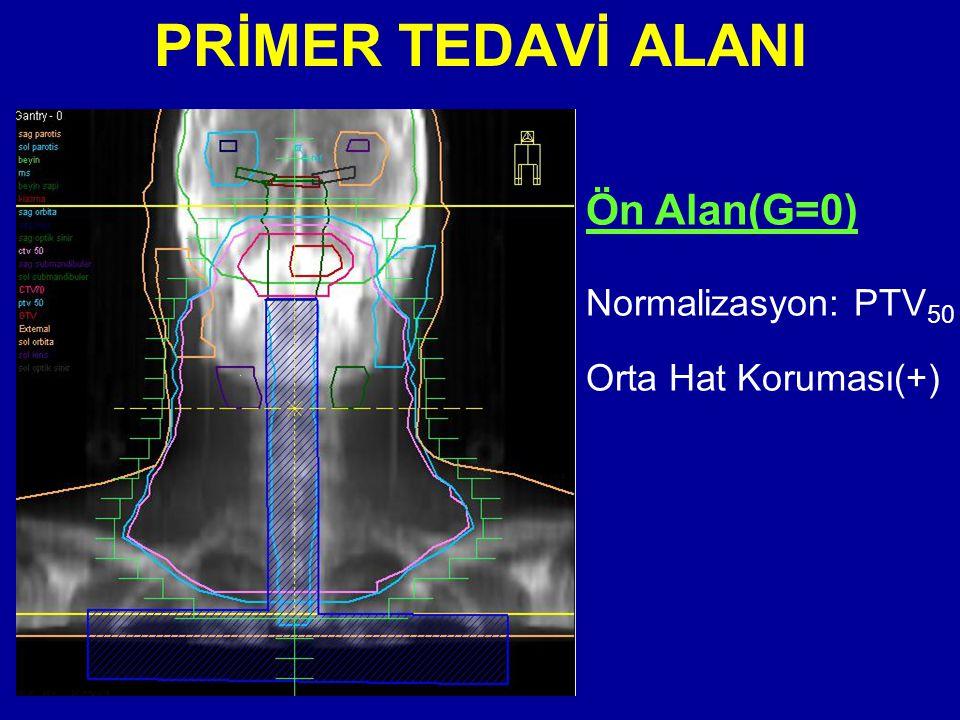 PRİMER TEDAVİ ALANI Ön Alan(G=0) Normalizasyon: PTV 50 Orta Hat Koruması(+)