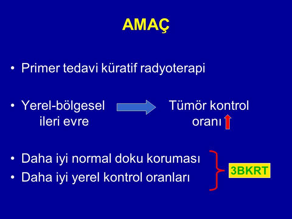 AMAÇ Primer tedavi küratif radyoterapi Yerel-bölgesel Tümör kontrol ileri evre oranı Daha iyi normal doku koruması Daha iyi yerel kontrol oranları 3BK
