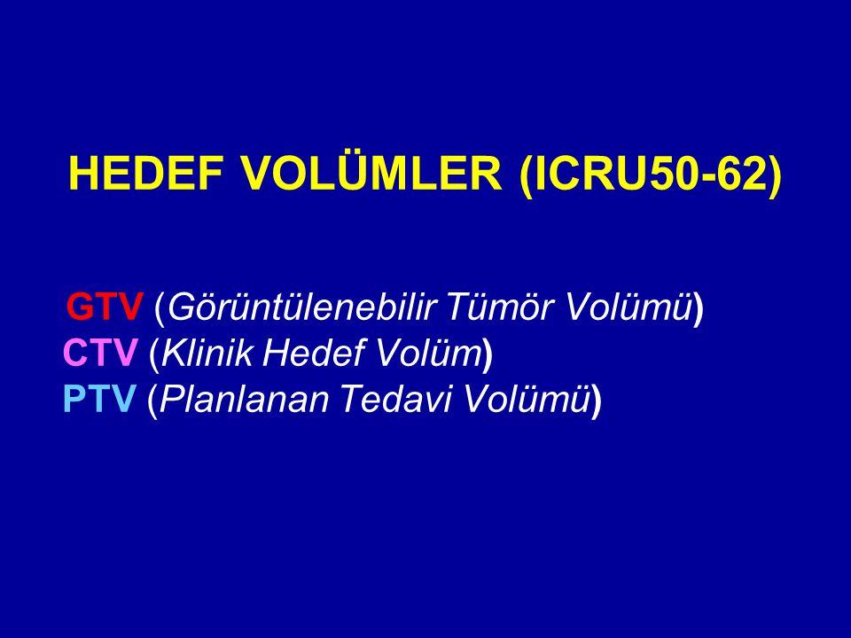 HEDEF VOLÜMLER (ICRU50-62) GTV (Görüntülenebilir Tümör Volümü) CTV (Klinik Hedef Volüm) PTV (Planlanan Tedavi Volümü)