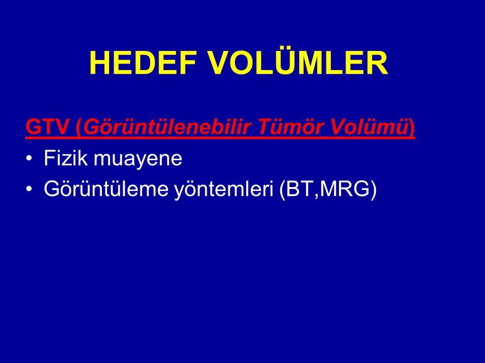 HEDEF VOLÜMLER GTV (Görüntülenebilir Tümör Volümü) Fizik muayene Görüntüleme yöntemleri (BT,MRG)