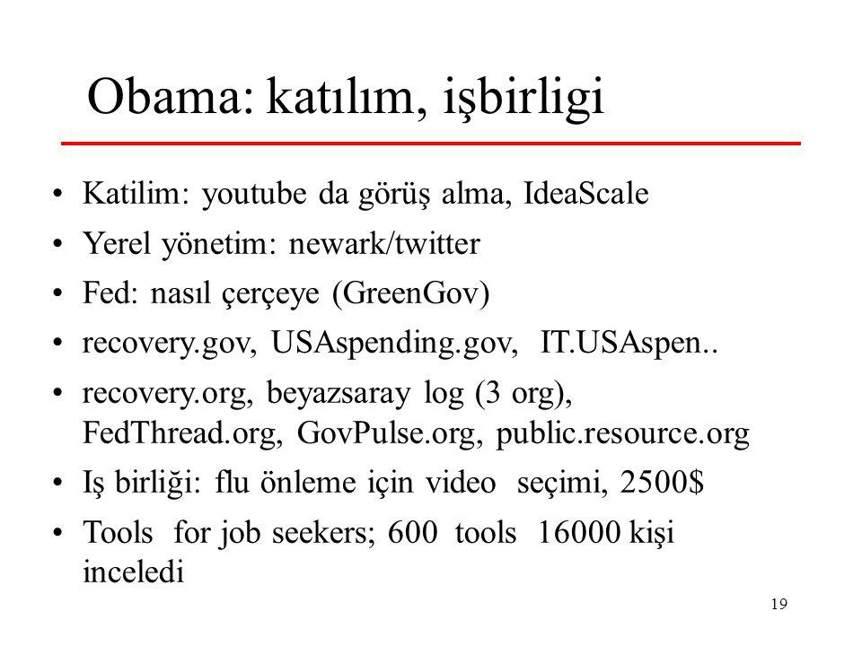 19 Obama: katılım, işbirligi Katilim: youtube da görüş alma, IdeaScale Yerel yönetim: newark/twitter Fed: nasıl çerçeye (GreenGov) recovery.gov, USAspending.gov, IT.USAspen..