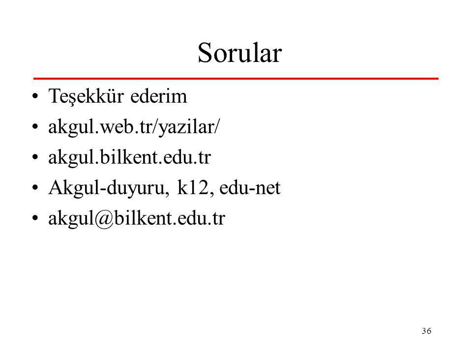 36 Sorular Teşekkür ederim akgul.web.tr/yazilar/ akgul.bilkent.edu.tr Akgul-duyuru, k12, edu-net akgul@bilkent.edu.tr