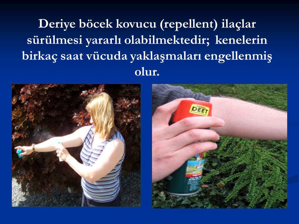 Deriye böcek kovucu (repellent) ilaçlar sürülmesi yararlı olabilmektedir; kenelerin birkaç saat vücuda yaklaşmaları engellenmiş olur.
