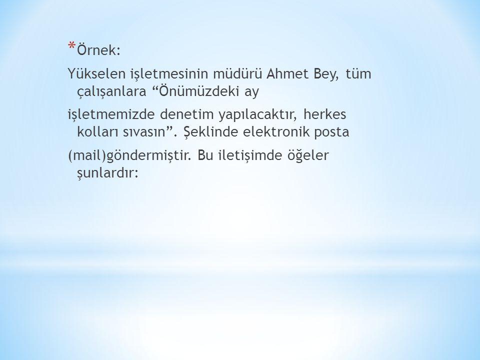 """* Örnek: Yükselen işletmesinin müdürü Ahmet Bey, tüm çalışanlara """"Önümüzdeki ay işletmemizde denetim yapılacaktır, herkes kolları sıvasın"""". Şeklinde e"""