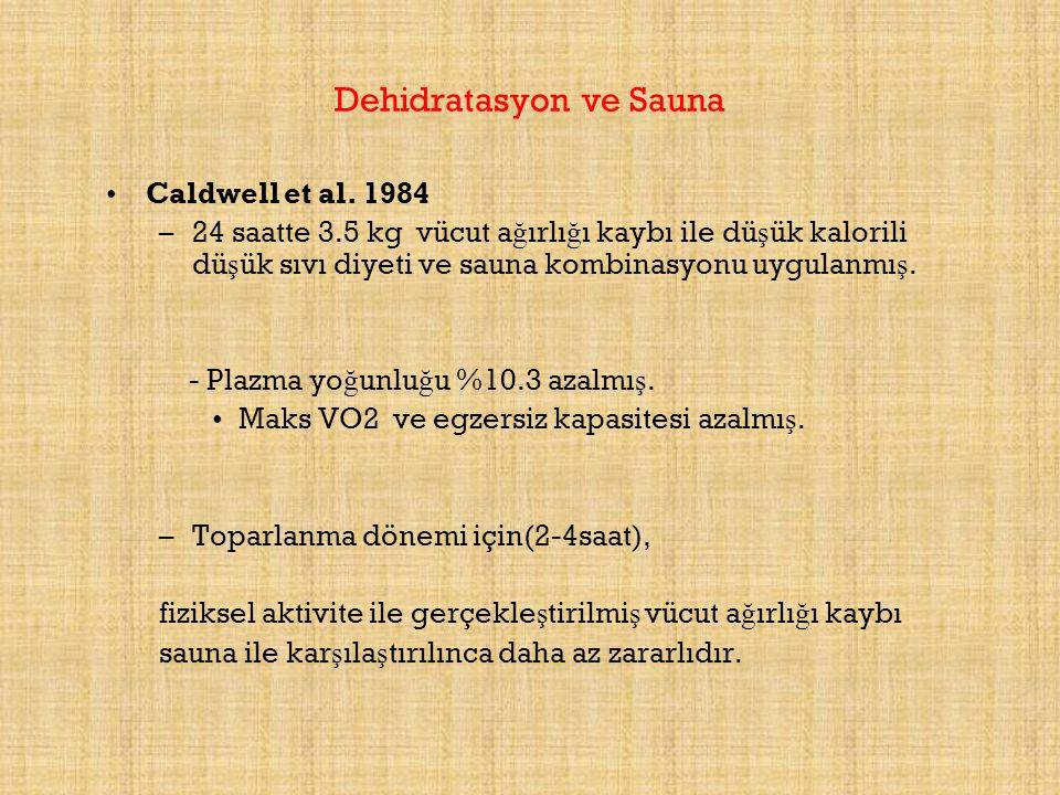 Dehidratasyon ve Sauna Caldwell et al. 1984 –24 saatte 3.5 kg vücut a ğ ırlı ğ ı kaybı ile dü ş ük kalorili dü ş ük sıvı diyeti ve sauna kombinasyonu