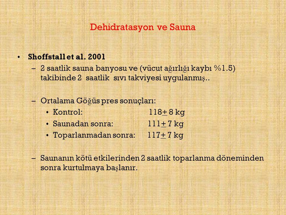 Dehidratasyon ve Sauna Shoffstall et al. 2001 –2 saatlik sauna banyosu ve (vücut a ğ ırlı ğ ı kaybı %1.5) takibinde 2 saatlik sıvı takviyesi uygulanmı
