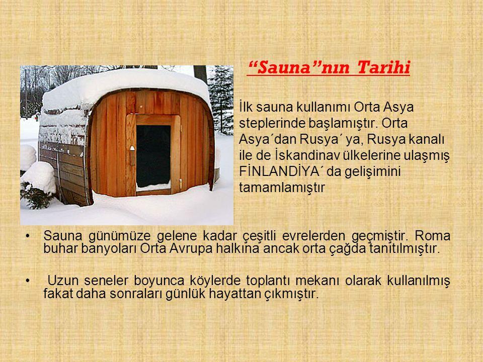"""""""Sauna""""nın Tarihi İlk sauna kullanımı Orta Asya steplerinde başlamıştır. Orta Asya´dan Rusya´ ya, Rusya kanalı ile de İskandinav ülkelerine ulaşmış Fİ"""
