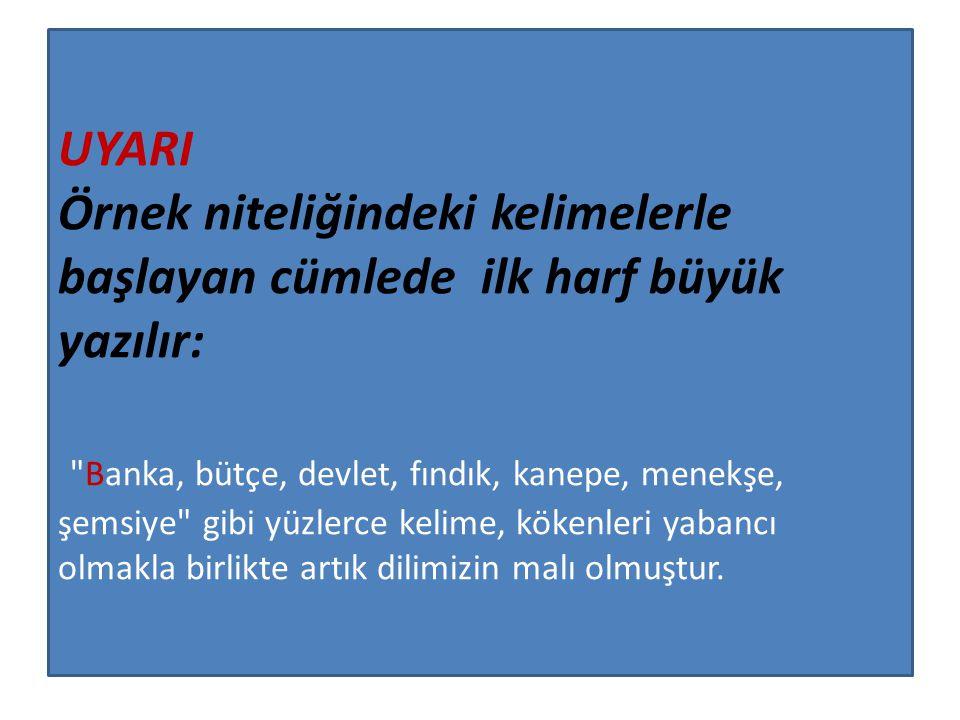 UYARI Rakamla başlayan cümlelerde rakamdan sonra gelen kelime büyük harfle başlamaz: 2005 yılında Türk Dil Kurumunun 73.