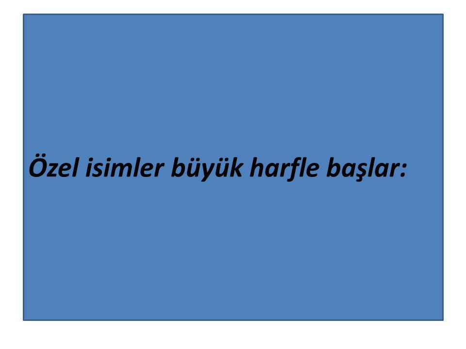 Kitap, dergi, gazete ve eser (tablo, heykel, müzik) isimlerinin her kelimesi büyük harfle başlar: Sinekli Bakkal Türk Dili Hürriyet Yeni Yüzyıl Onuncu Yıl Marşı Saraydan Kız Kaçırma