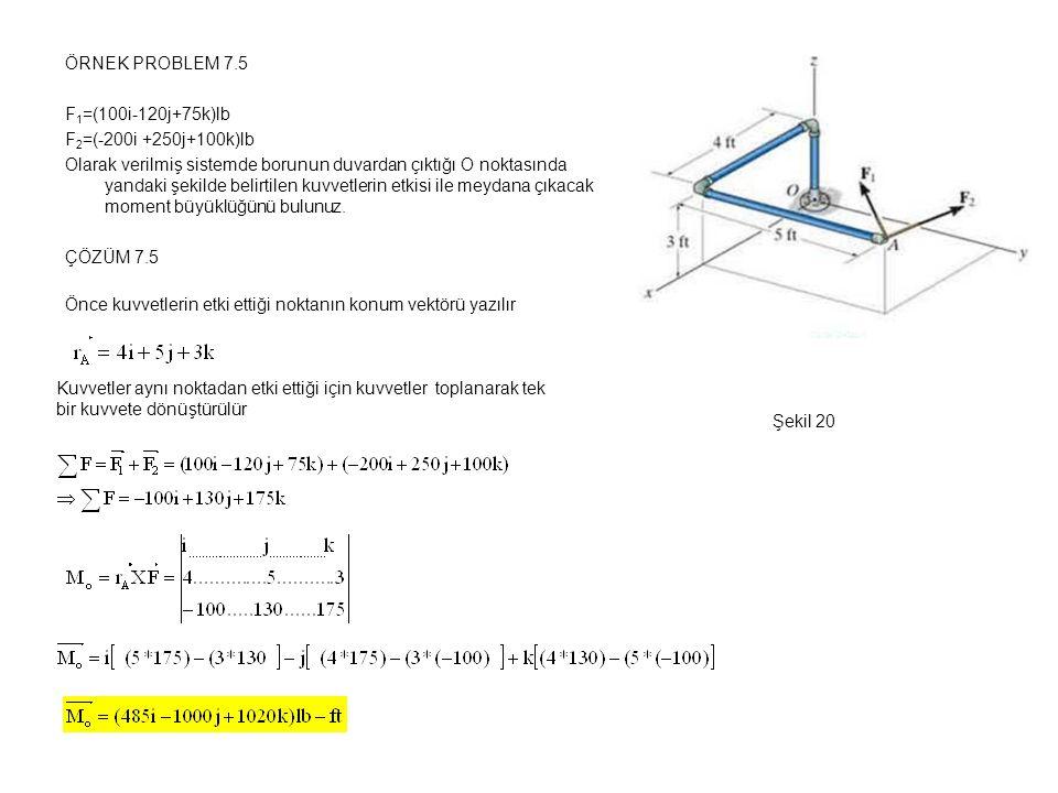ÖRNEK PROBLEM 7.5 F 1 =(100i-120j+75k)lb F 2 =(-200i +250j+100k)lb Olarak verilmiş sistemde borunun duvardan çıktığı O noktasında yandaki şekilde beli